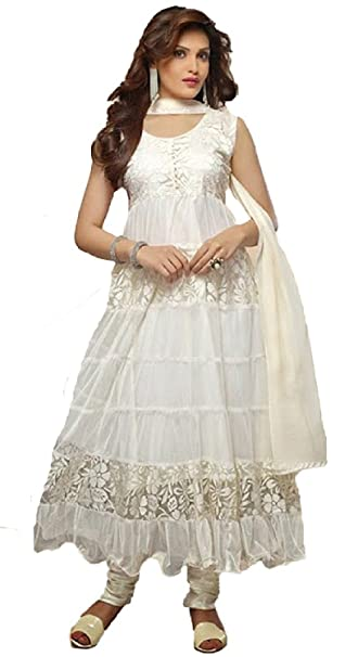 832f7f6a6e Clickedia Women Brasso   Net Salwar Suit Dress Material (off-White Anarkali   Cream  Free Size)  Amazon.in  Clothing   Accessories