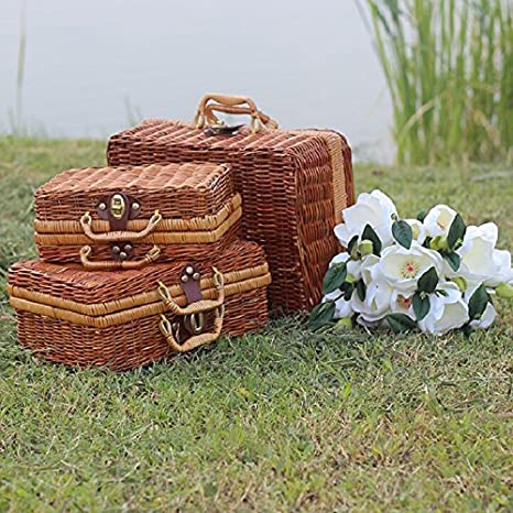 Handmade Bamboo Picnic Basket Mini Travel Suitcase Rattan Fruit Basket Food  Cosmetic Box For Outdoor Storage