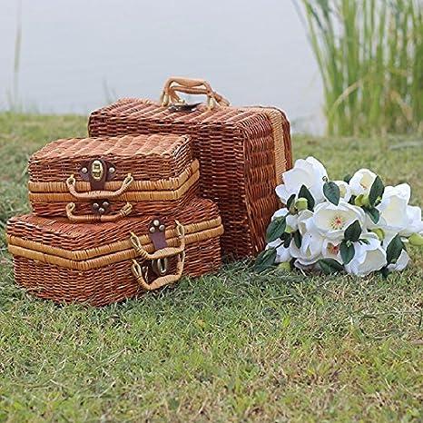 Handmade Bamboo Picnic Basket Mini Travel Suitcase Rattan Fruit Basket Food  Cosmetic Box For Outdoor Storage