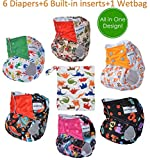 All in One Shell-Snap Cloth Pocket Diapers,Adjustable Size,6 Pack with 6 Built-in Inserts and 1 Diaper Bag