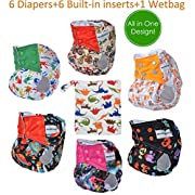 All in One Shell-Snap Cloth Pocket Diapers,Adjustable Size ,6 Pack with 6 Built-in Inserts and 1 Diaper Bag