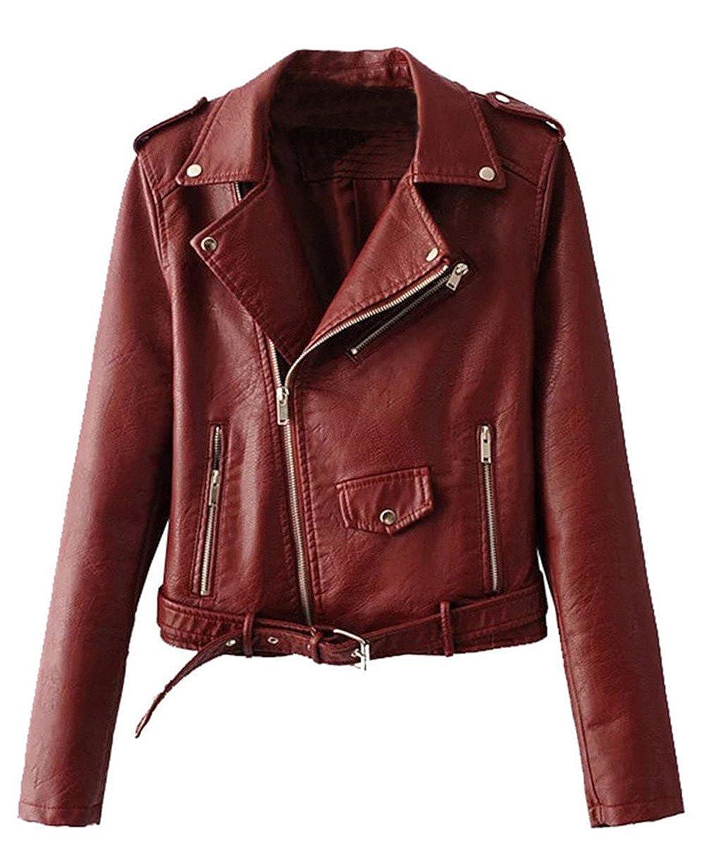 Allonly Women's Faux Leather Diagonal Zipper up Lapel Motorcycle Jacket Coat ALJWJK013