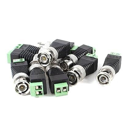10 piezas Coaxial Cable Coaxial Cat5 a BNC Video balun Conector para CCTV Cámara