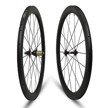 Yuanan - Ruedas de Carbono para Bicicleta de Carretera, Bicicleta de Carretera 700C, 50 mm de Profundidad: Amazon.es: Deportes y aire libre