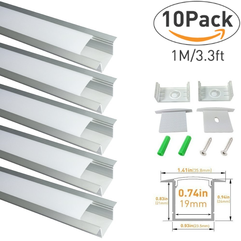 LightingWill Spot Free LED Aluminum Channel 10-Pack 3.3ft/1M 36x24mm Silver U-Shape Aluminum Profile Internal Width 20mm with Diffuser Cover, End Caps and Mounting Clips for LED Strip Light-U05S10
