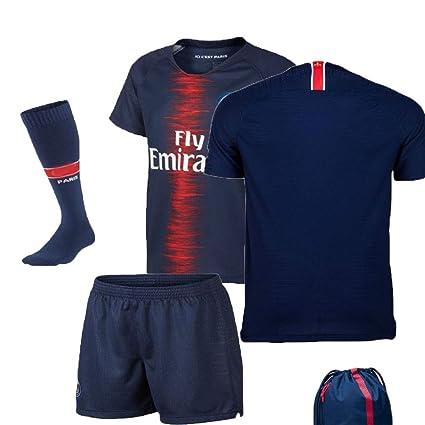 timeless design 59445 d45d8 PSG Paris Saint Germain Serie A 2018 19 Neymar Mbappe Cavani Replica Jersey  Kid Kit : Shirt, Short, Socks, Bag n Key