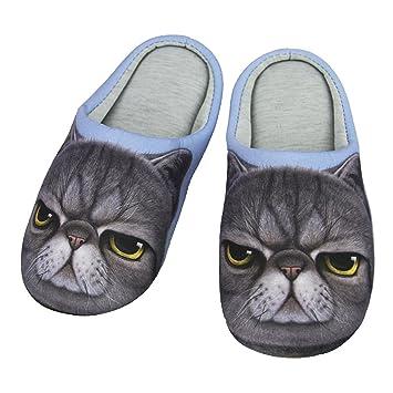 Zapatillas con adorable diseño 3D perro o gato estar casa oficina pantuflas cálidas cómodas algodón suave abiertas antideslizantes hombre mujer para otoño e ...