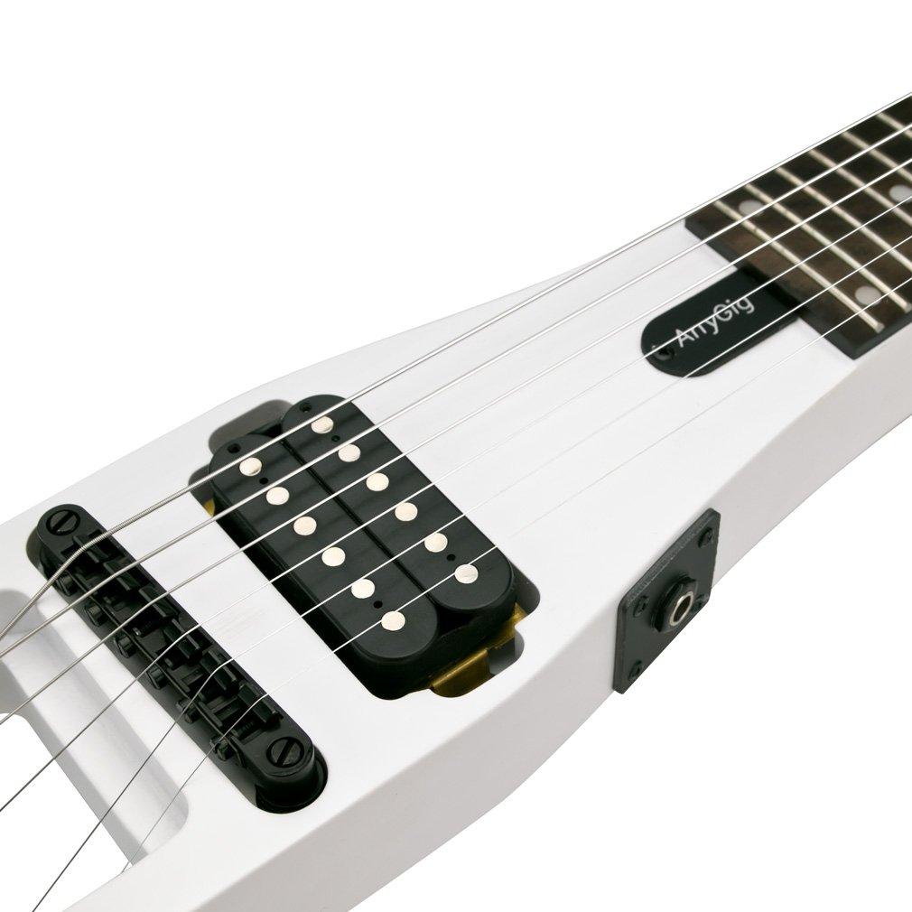 Anygig - Guitarra eléctrica de viaje con cuerdas 010 ~ 046, mástil portátil de 24 trastes, diseño equilibrado, color blanco mate: Amazon.es: Instrumentos ...