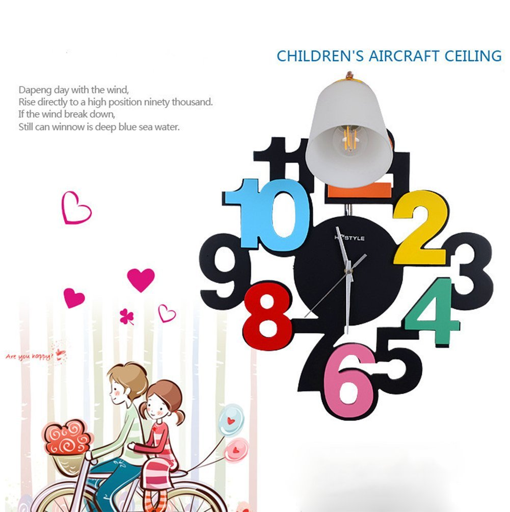 OOFAY LIGHT Catoon Clock Children's Room Wall Lamp LED Lamps On Wall For Kids Indoor Lighting
