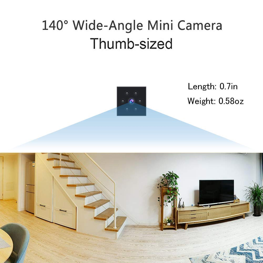 Mini Spy Cam, Hidden Camera HD 1080P Indoor Outdoor Home Small Nanny Cam Security Cameras Built-in Magnetic Wearable Surveillance Camera with Motion Detection Night Vision Cop cam