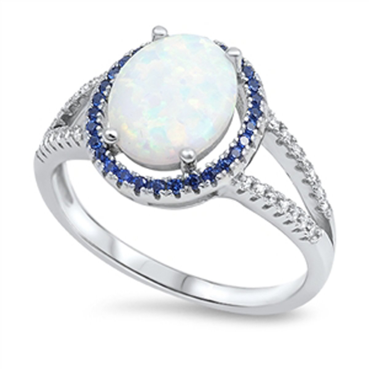 Sizes 5-10 Prime Jewelry Collection Sterling Silver Womens Blue Cubic Zirconia White Lab Opal Solitaire Halo Wedding Ring