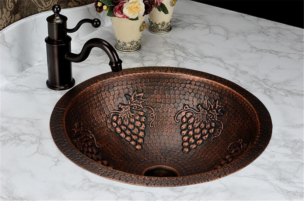 GAOF Fashion washbasin, Antique Copper Brass Basin, handmade, Copper Sinks, Copper Vessel Sink, Brass Under counter basin on sale