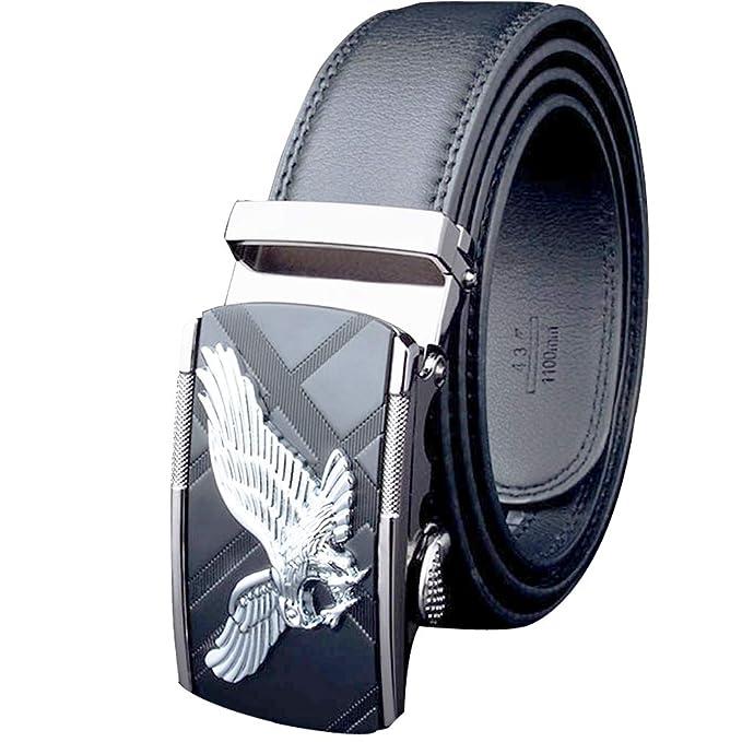 Cinturón cuero real hombre/Metal automático Plata Águila Cinturón ...