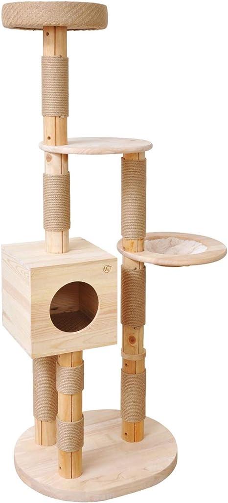 Árbol para gato Simba, 1,63 m, color crema, juguete para gato, superficie para jugar, escalar, arañar y dormir