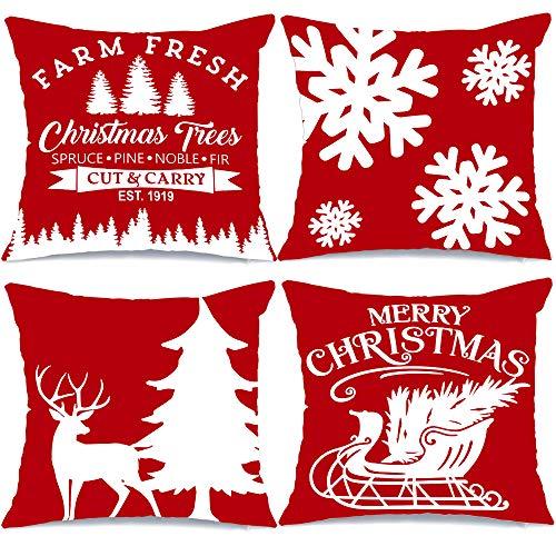AENEY Farmhouse Christmas Pillow Covers 18×18 Set of 4 Red for Christmas Decor Christmas Tree Farm Sign Deer Snow Throw…