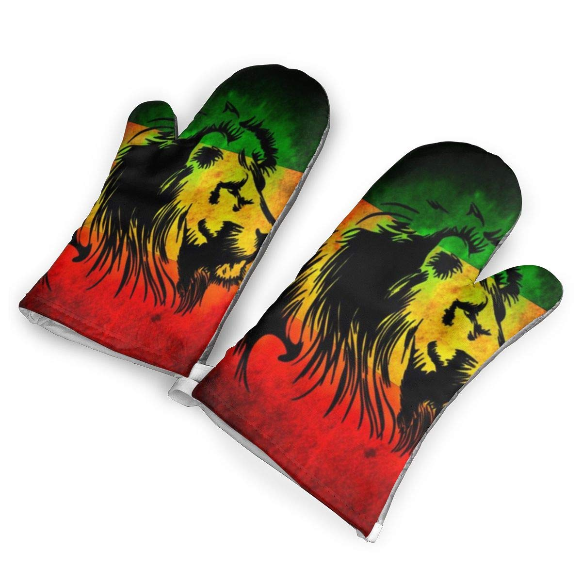 not Leones Verde Amarillo Y Rojo Oven Mitts with Polyester Fabric Printed Pattern,1 Pair of Heat Resistant Oven Gloves for Cooking,Baking,Grilling,Barbecue Potholders