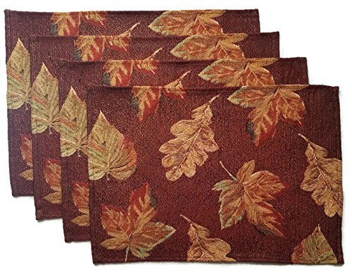 Thanksgiving Placemats Fall Harvest Leaves - Set of 4