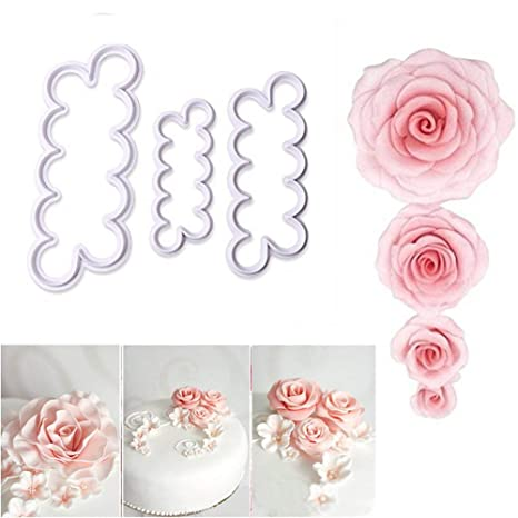 aremazing 3d rosa flores nunca cortador Fondant Molde Decoración de Pasteles Herramienta Eléctrica molde para hornear