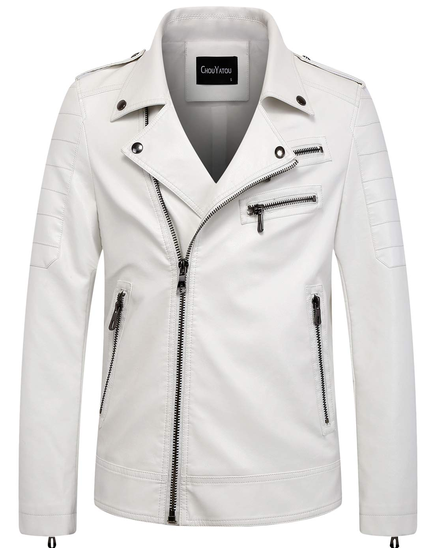 chouyatou Men's Vintage Asymmetric Zip Lightweight Faux Leather Biker Jacket (Small, White) by chouyatou