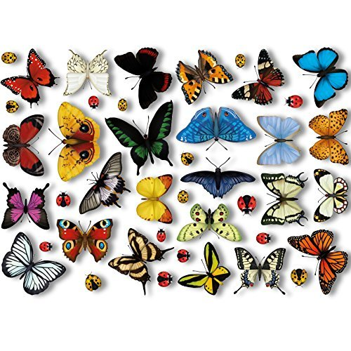 25 realistischen Schmetterlinge & 17 Marienkäfer Fenster von ArtiClings ®-Antihaft-Sticker schnell dekorieren und verschönern Sie Ihr Fenster