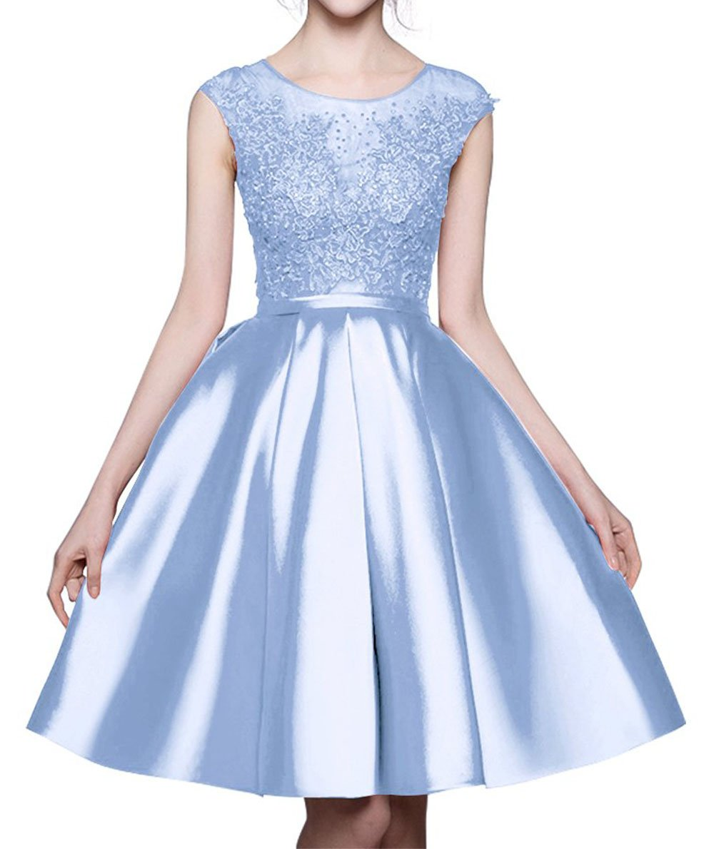 BRL MALL Women's Round Neck Prom Evening Dresses Cap Sleeves Short Lace Applique Wedding Party Gowns Light Blue 06