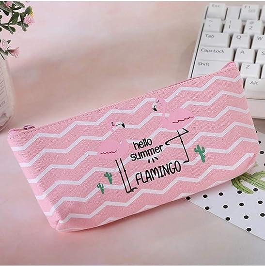 ZLJNN Kawaii Pencil Case Flamingos Canvas Gift School Pencil Box ...