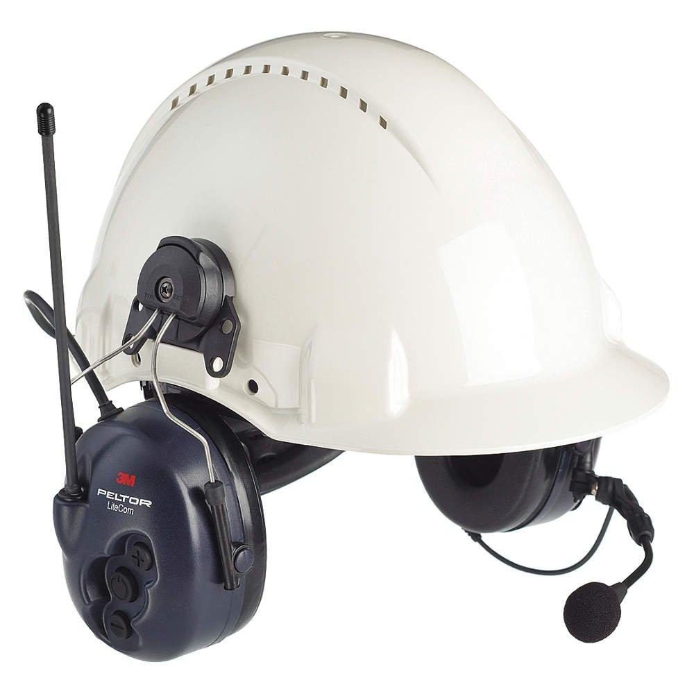 3M (MT53H7P3E4600-NA) Lite Com BRS 2-Way Radio Headset, MT53H7P3E4600-NA, Hard Hat Attached