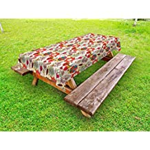 Ambesonne Floral Outdoor Tablecloth, Various Kinds of Flowers with Colorful Pattern Butterflies Nature Flora and Fauna, Decorative Washable Picnic Table Cloth, 58 X 84 Inches, Multicolor