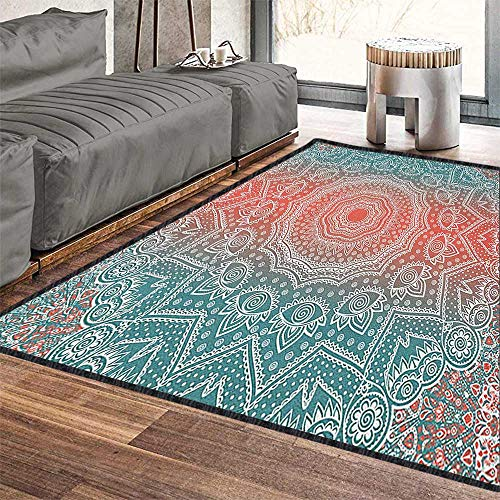 - Coral and Teal Modern Area Rug with Non-Skid,Modern Tribal Mandala Tibetan Healing Motif with Floral Geometric Ombre Art Stain Resistant & Easy to Clean Coral Teal 79