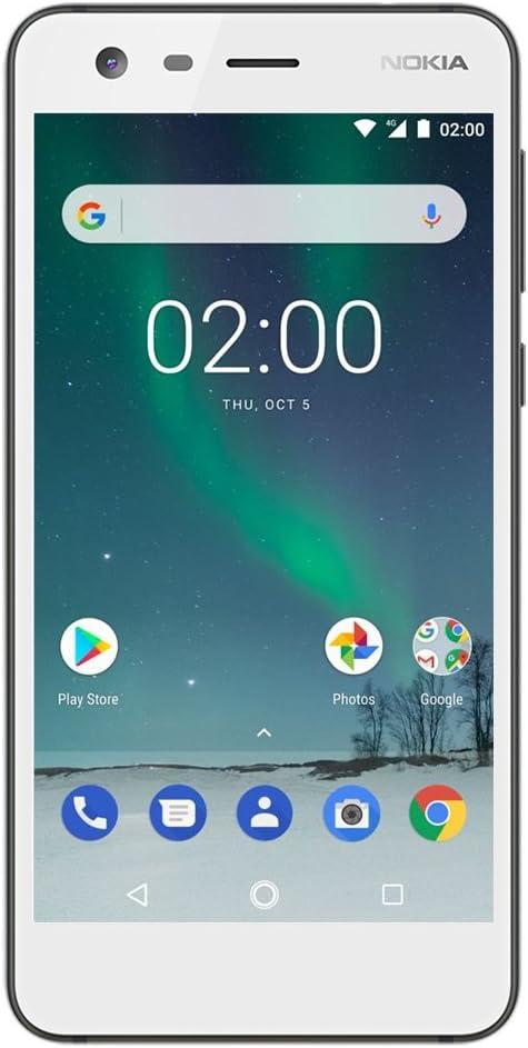"Nokia 2 - Android 7.0 Nougat - 8GB - Dual SIM Unlocked Smartphone (AT&T/T-Mobile/MetroPCS/Cricket/Mint) - 5"" Screen - White - U.S. Warranty"