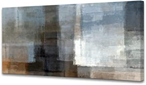 Muolunna A62250 Canvas Prints Abstract Wall Art Print Paintings Grey and Brown Home Decor Stretched and Framed Ready to hang for Living Room Bedroom and Office Home Kitchen Artwork 20x40inch