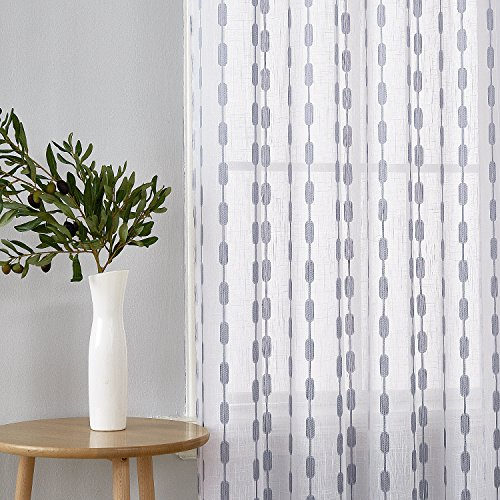 Deconovo Grey Sheer Curtains Grommet Modern Design Jacquard Sheer Curtains for Nursery Room 52X95 Inch Set of 2 Review