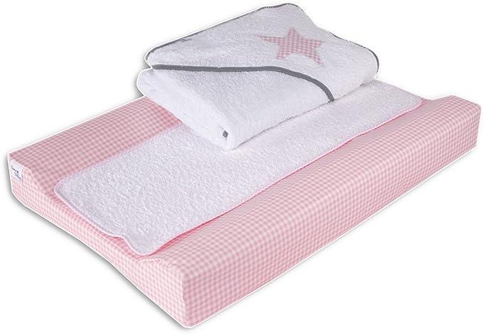 Pack de cambiador plastificado 48 x 70 cm y capa de ba/ño 80 x 80 cm color rosa dise/ño estrella Belino Vichy