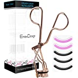 EmaxDesign Pinch & Pain FREE Metal Eyelash Curler – Professional Makeup Tool With 5 Replacement Silicone Refill Pads, Rose Gold Color – Premium Steel. Easy-to-Use to Get Beautiful Eye Lashes.