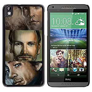 [Neutron-Star] Snap-on Series Teléfono Carcasa Funda Case Caso para HTC DESIRE 816 [Hombre Retrato Ojos azules Dibujo Hermoso]