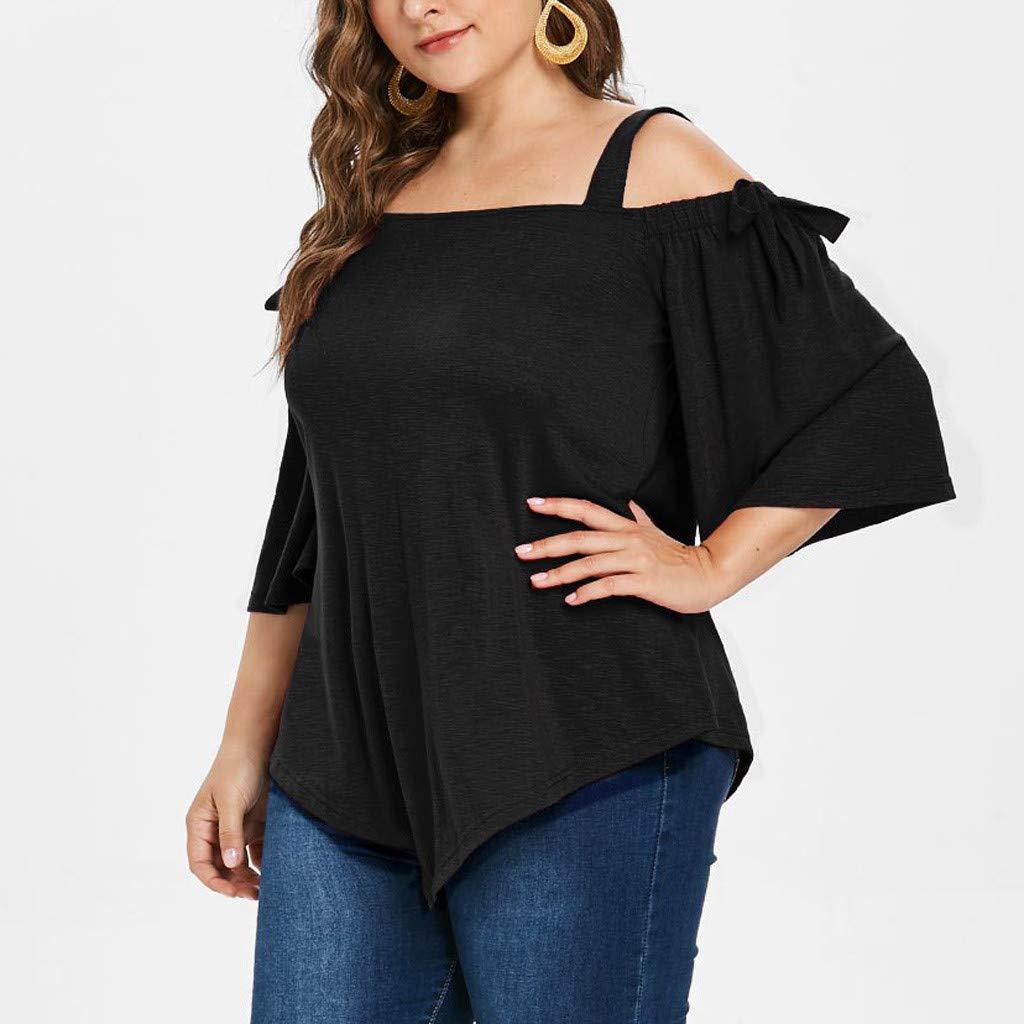 JUTOO Moda Mujer Casual Talla Extra Asim/étrica Fr/ío Hombro Top Camiseta Blusa Arco XL-XXXXXL