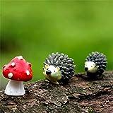 Danmu Resin Mini Hedgehogs and Mushroom, Miniature Figurines, Fairy Garden Accessories, Fairy Garden Supplies, Fairy…