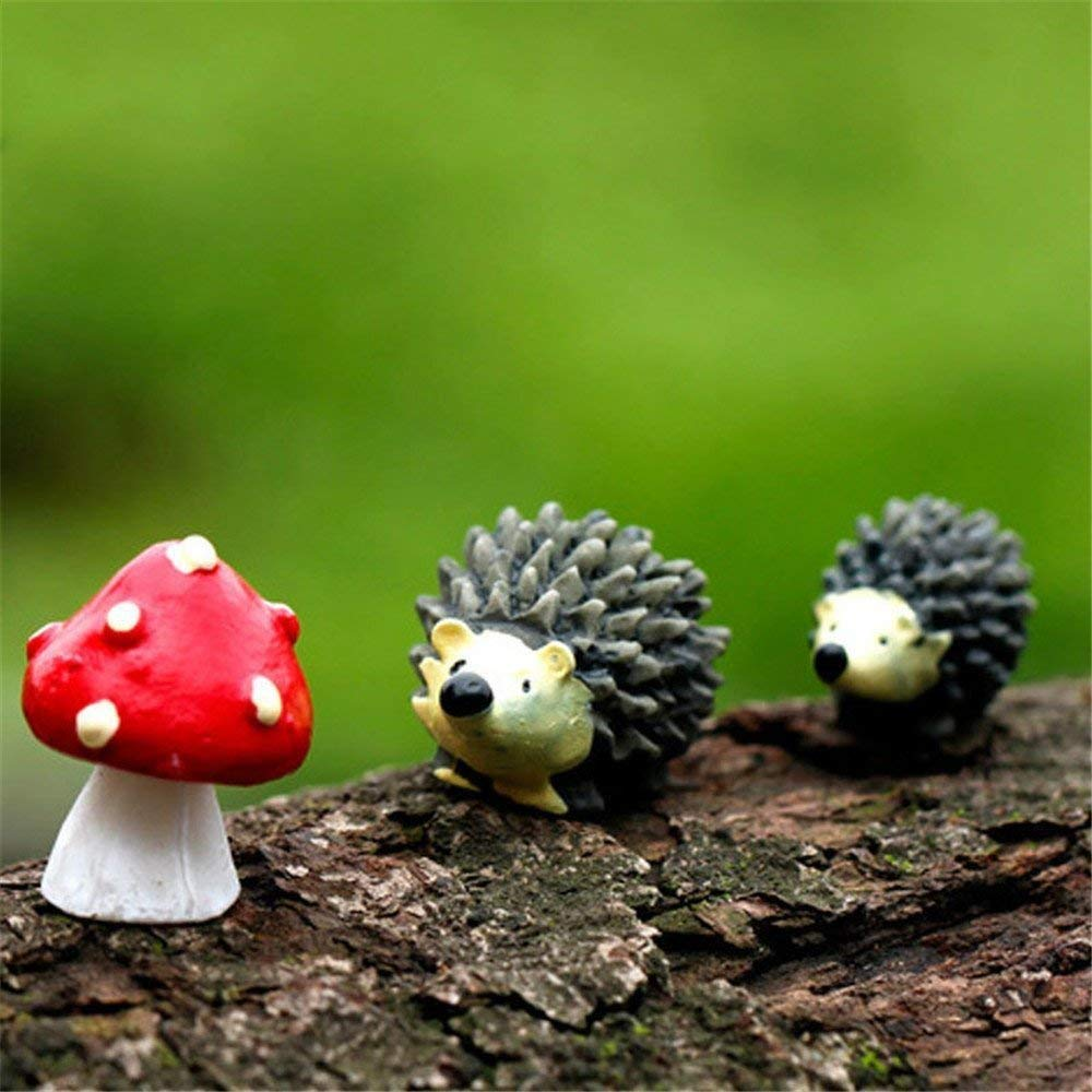 Danmu Resin Mini Hedgehogs and Mushroom Miniature House Fairy Garden Micro Landscape Home Garden Decoration Plant Pots Bonsai Craft Decor