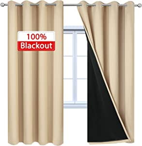 Yakamok 100% Blackout Lined Curtain Panels, Thermal Insulated Blackout Curtains for Bedroom, Heat Blocking Drapes for Living Room(52Wx84L, Beige, 2 Panels)