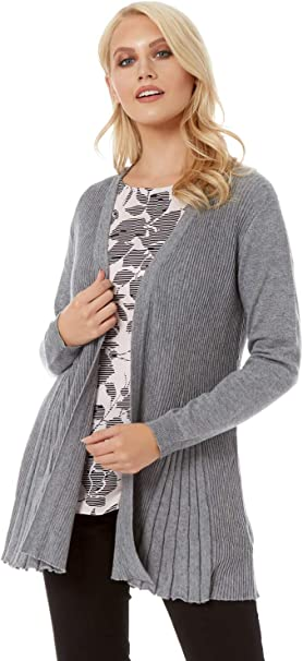 Ladies Edge to Edge Cardigan Jumper In Grey Size Small