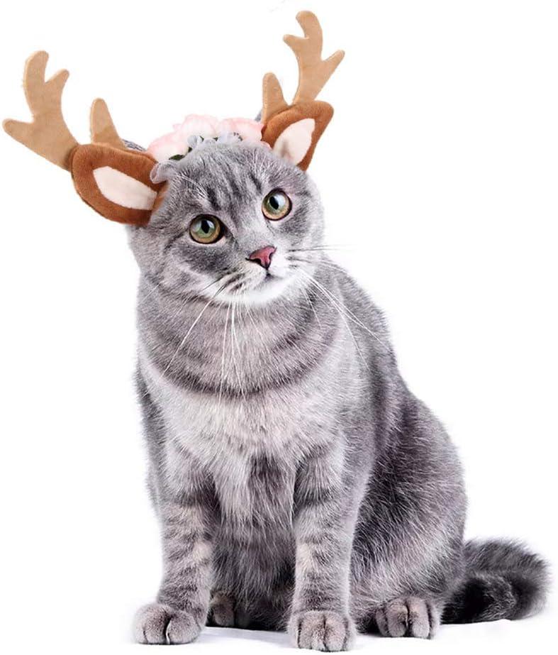 CHEPL Diadema de Navidad para Mascotas Diademas para Perros y Gatos Diadema Ajustable para Perro para Halloween Navidad Cosplay Fiesta Pelo Accesorios