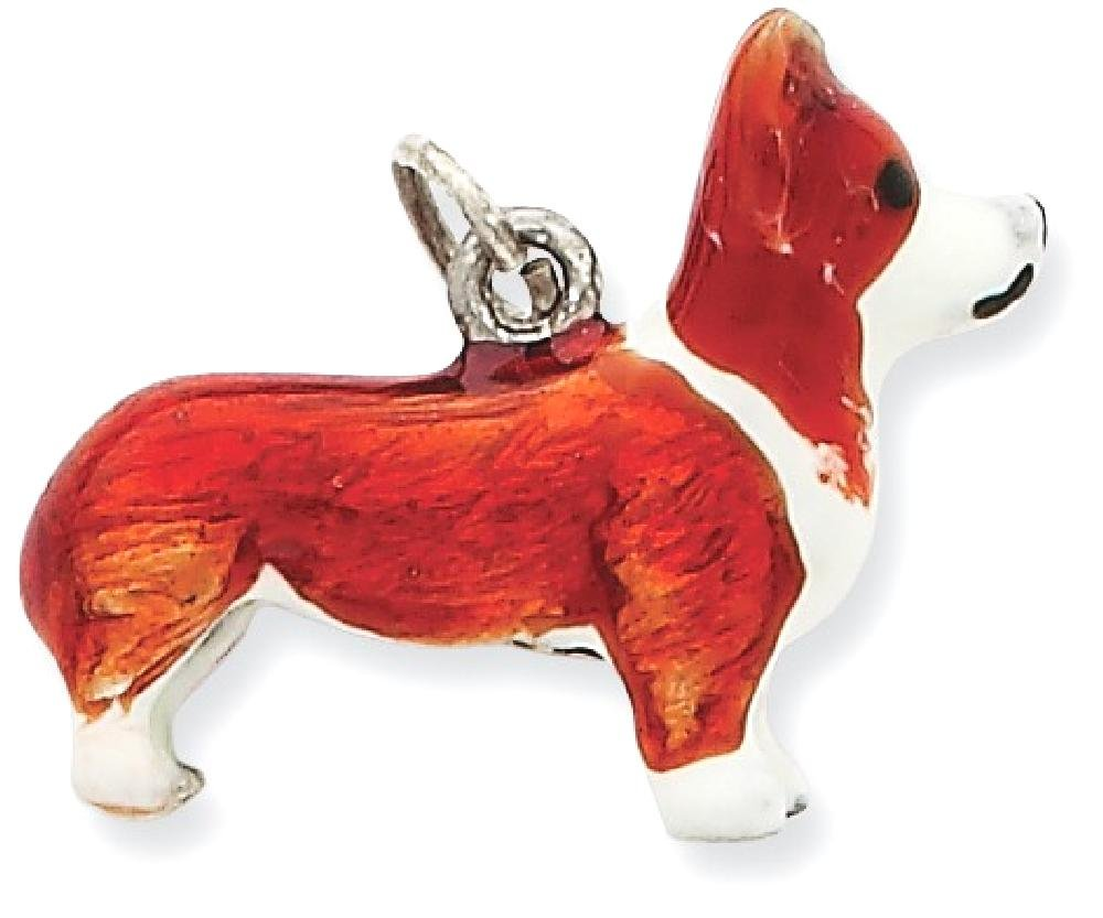 ICE CARATS 925 Sterling Silver Enameled Pembroke Welsh Corgi Pendant Charm Necklace Animal Dog Fine Jewelry Gift Set For Women Heart by ICE CARATS