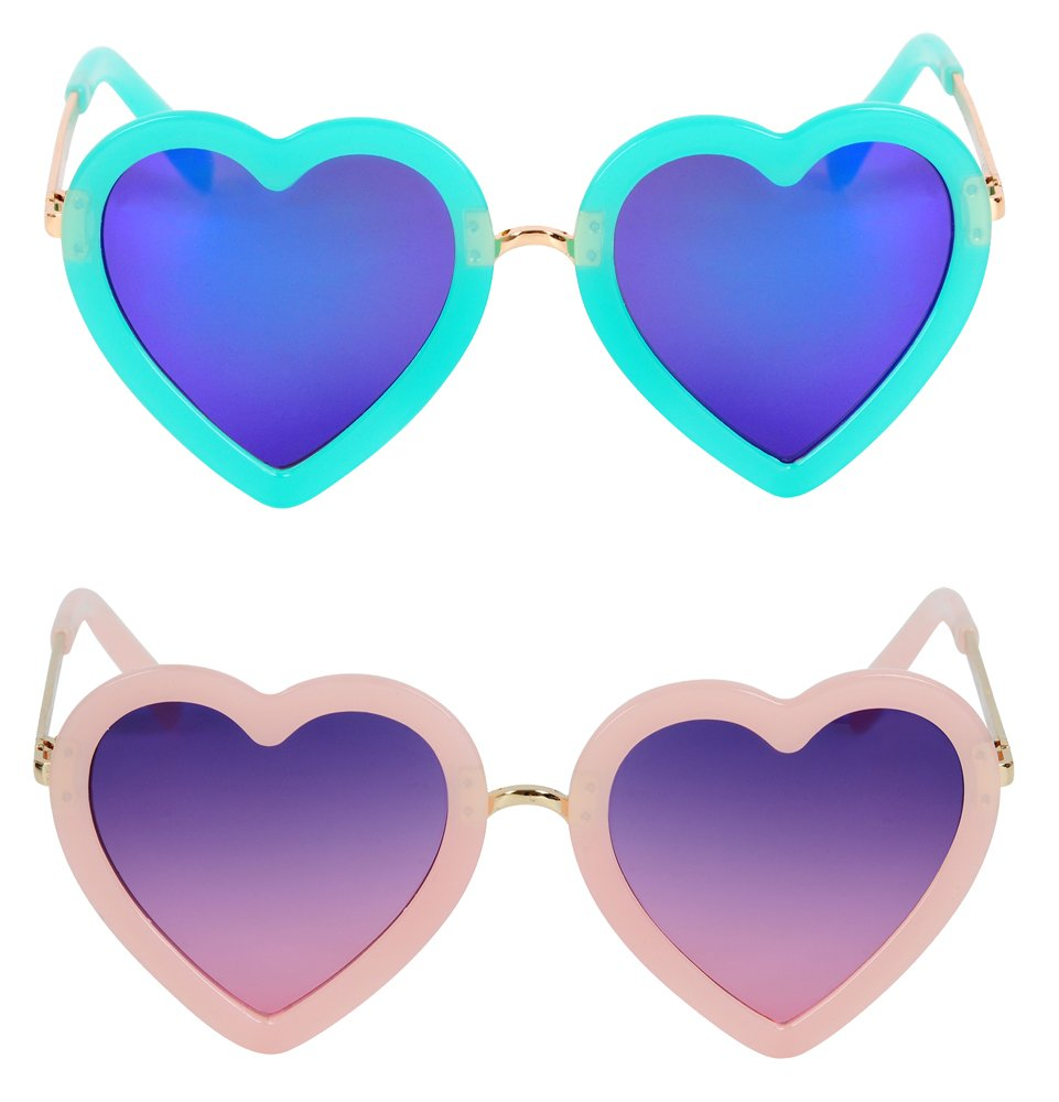 2 Pcs Kids Polarized Heart Shaped Sunglasses for Toddler Girls 3-10 Years (Green & Light Pink) by hololo
