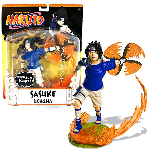 (Naruto Year 2006 Shonen Jump's Series Premium Sculpt 7-1/2 Inch Tall Action Figure - Sasuke Uchiha with 3 Authentic Shinobi Poses, Fire Shuriken and Flame Display Stand)