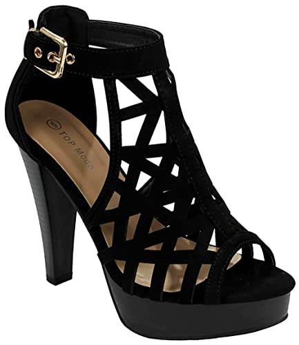 b6449fb37daa JJF Shoes Women Bonica Black Cut Out Buckle Peep Toe Chunky Stacked Block  Heel Ankle Platform