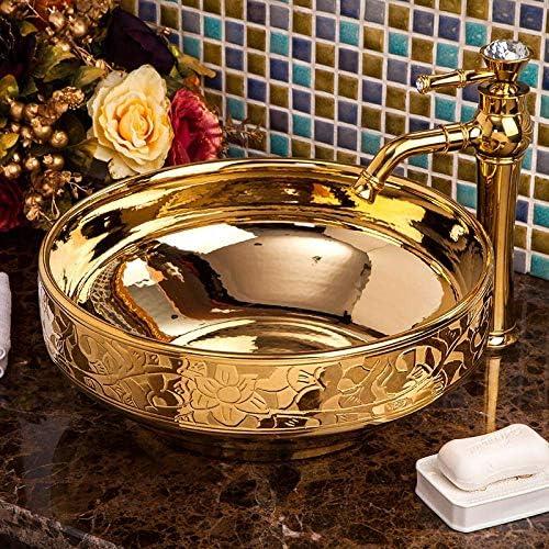 Yadianna ゴールデンチャイナヴィンテージスタイル陶芸盆地シンクカウンタートップ浴室の洗面台セラミック手洗面台のバスルームのシンク