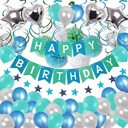 Happy Birthday Decorations, Blue Happy Birthday Banner Balloons Decorations, Green Hanging Swirls and Tissue Pom Pom Ball for Birthday Party Suppliers (Blue,Green,Silver)]()