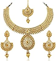 Reeva Gold Zinc Necklace With Earring & Mangtikka Set For Wo