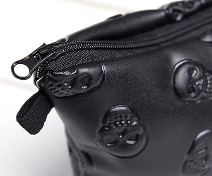 ec778f01b688 wonbye Women Large Volume Waterproof Makeup Bag, Cosmetic Bag Organizer,  Skull Makeup Bag, Black