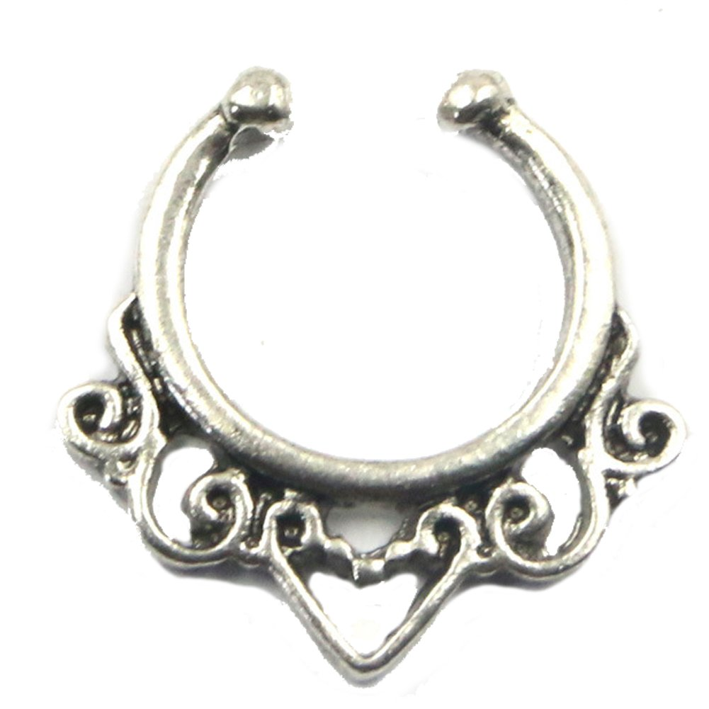 Argento + Oro Piercing,2 pezzi Monili penetranti del Septum dellanello del naso di per le donne Clip non piercing sui monili penetranti del corpo